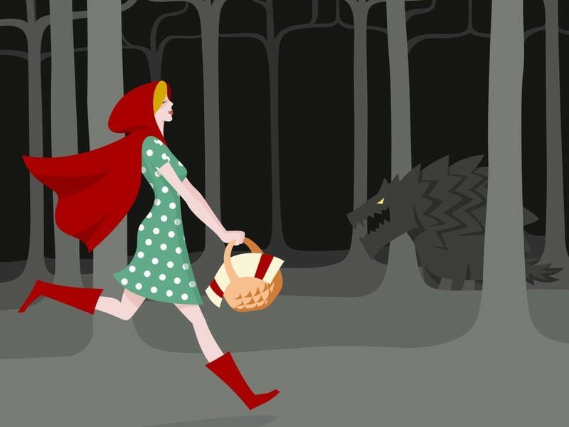 Red Riding Hood 2 monster forest illustration vector red riding hood
