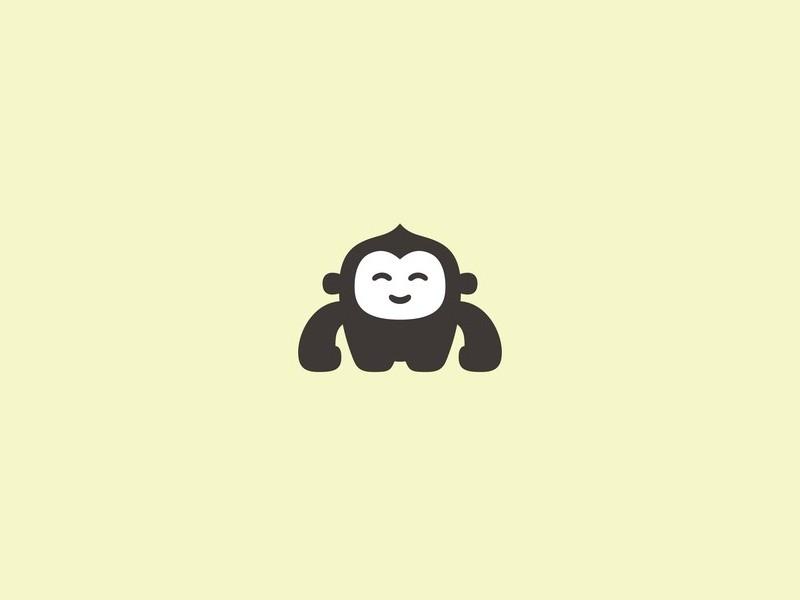 baby gorilla logo animal zoo primate ape monkey logo gorilla flat icon branding design for sale logo vector