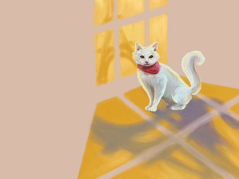 Kitty in Paris painting digital illustration