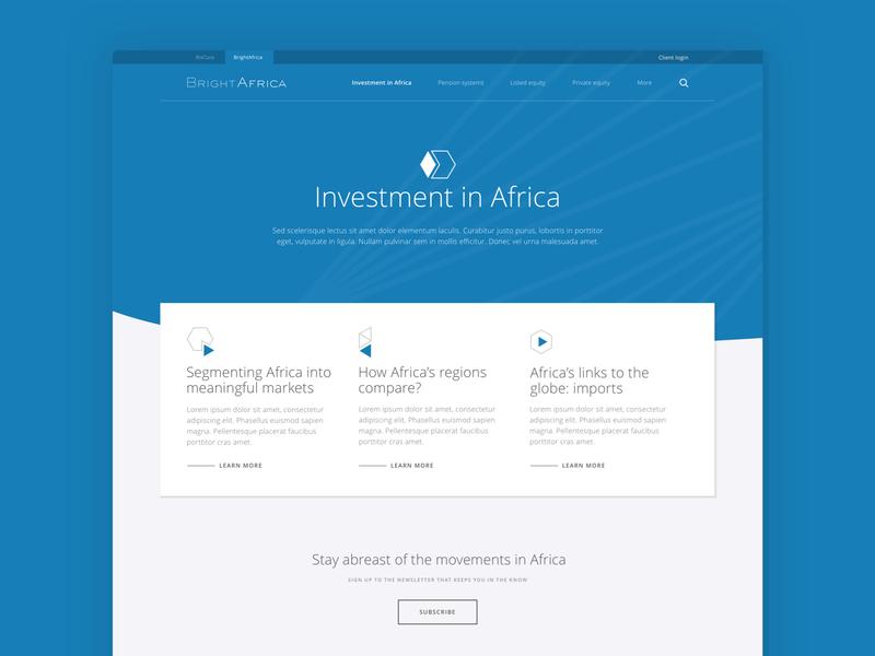 BrightAfrica open insights finance geometric brand design minimal investment africa portal website throwback