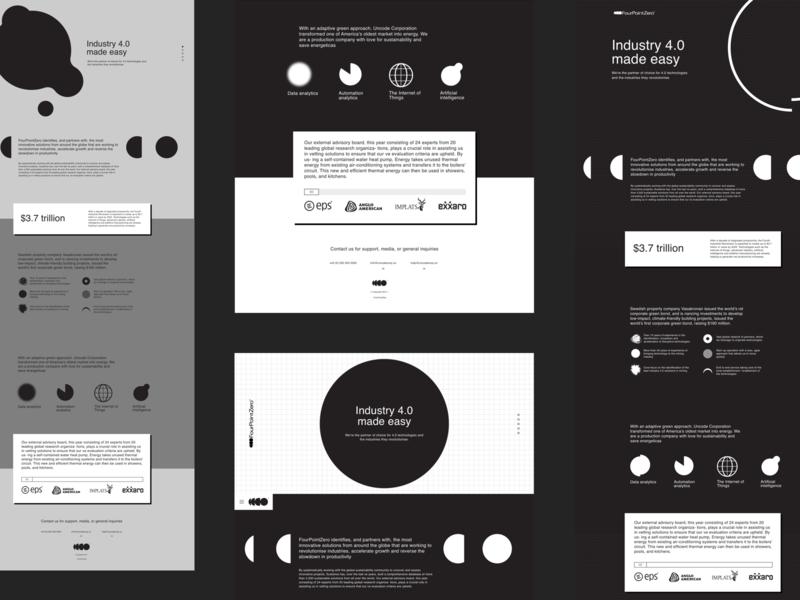 FourPointZero swiss style stark minimal one page website concept unused concept