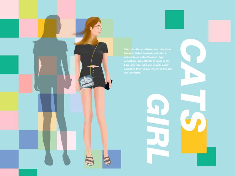 猫系女生 web ui illustration design typography