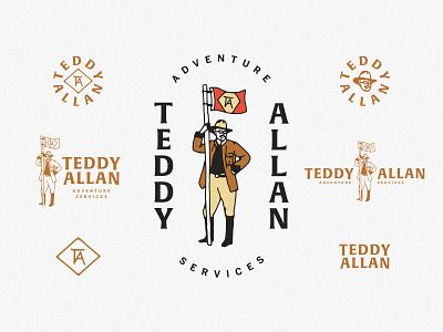 Teddy Allan flag adventure outdoor logo design branding design logo branding teddy theodore theodore roosevelt teddy allan