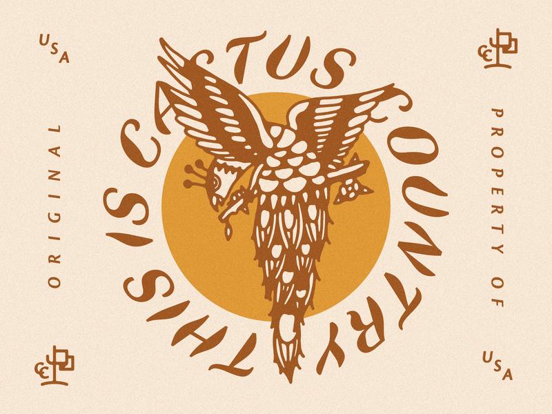 Cactus Country Bird country club logo branding flag logo desert cactus bird illustration bird peacock illustration flag peacock cactus country