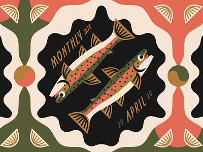 Monthly Mix: April fish illustration fish monthly mix cd cover album art playlist cover playlist rainbow trout trout music art music april