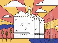 Gilbert Silos mural design mural illustration four peaks corn farming landmark landmarks arizona farm farm silos silos gilbert