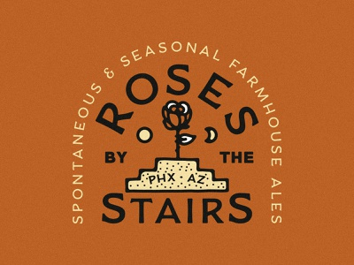 Roses by the Stairs Branding farmhouse beer brewery logo stway staircase brewery branding brewery stairs roses
