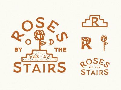 Roses by the Stairs Branding staircase stairway beer branding beer brewery branding brewery logo monogram brewery stairs roses