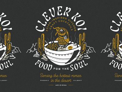 Clever Koi Shirt shirtdesign shirt noodles noods ramen desert koi fish koi illustration restaurant design restaurant