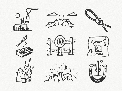 Western Icon Set cowboy icon cowboy illustration western illustration western cowboy hat cowboy icons icon set icon design western icon