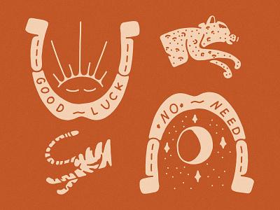 Horseshoe Kitty Illustration Detail lucky charms luck lucky horseshoe illustration day night moon sun no luck good luck tiger leopard