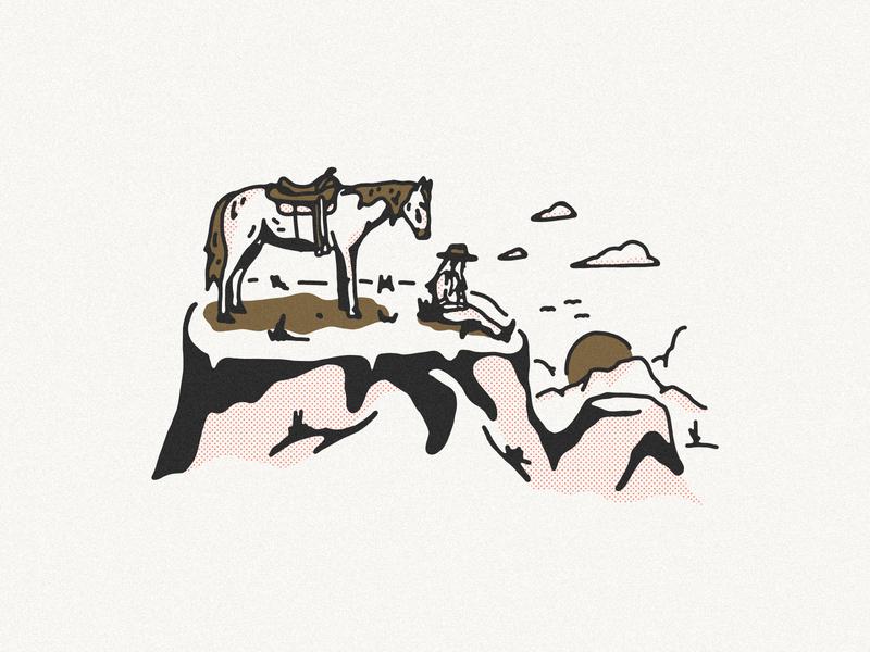 Maverick Illustration western landscape illustration landscape cowgirl illustration yeehaw desert mountain horse cowgirl maverick illustration