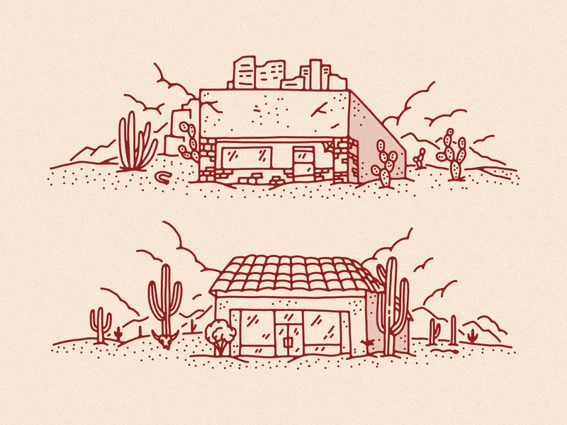 Cowtown Shop Illustration 1 shop skateboard shop buildings illustration building desert arizona skateboard skateshop cowtown skateboards cowtown