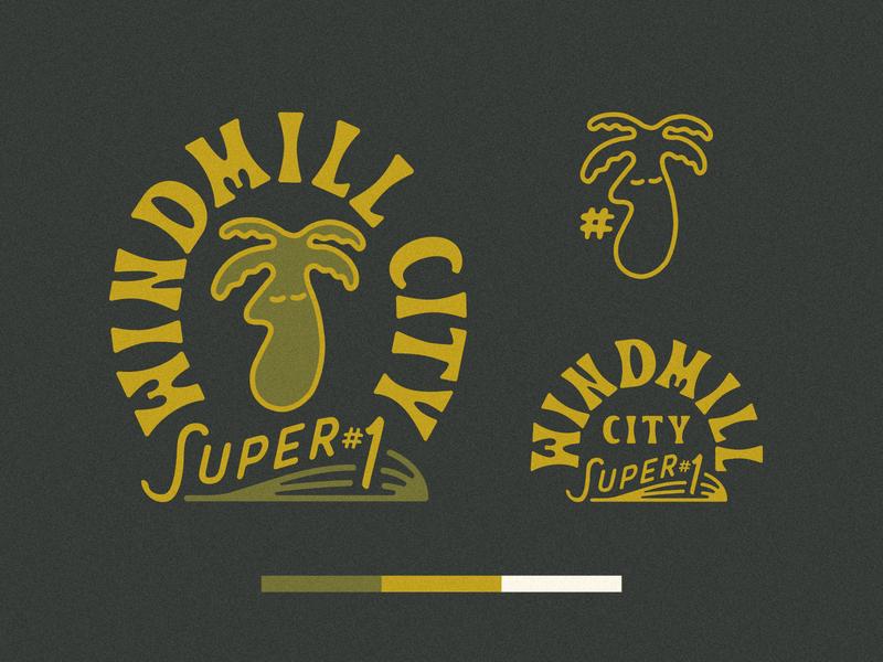 Windmill City Super #1 Branding logo design gift shop palm springs palm tree logo branding design branding and identity branding windmill