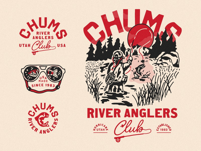 Chums Apparel Concepts river utah apparel design logo lockups apparel fisherman fishing logo fish fishing rod fly fishing fishing chums