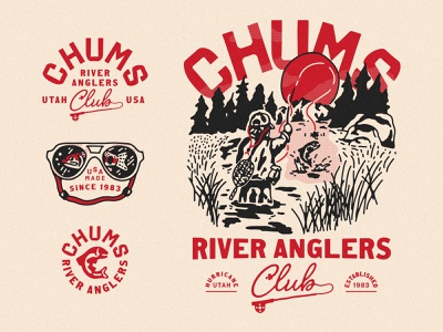 Chums Apparel Concepts river utah apparel design logo lockups apparel fisherman fishing logo fish fishing rod fly fishing fishing chums