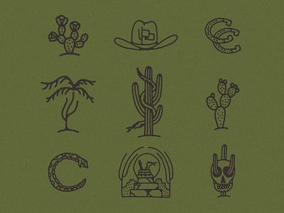 Icon Roundup skull saguaro horseshoe portal palm tree snake cactus country arizona desert west cowboy desert icons western icons icon