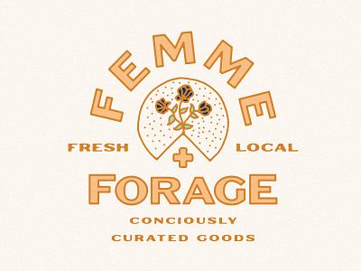 Femme & Forage Branding food logo food cheese board charcuterie flowers cheese branding design logodesign brand identity logo branding
