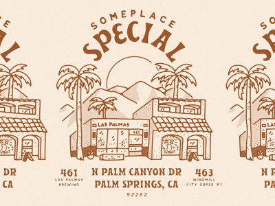 Windmill City Super #1 x Las Palmas shop local local small business palm tree beer art brewery storefront building illustration illustration someplace special palm springs gift shop beer