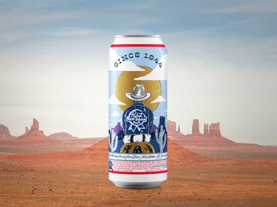 PBR Can Contest 2021 open road desert cactus western cowboy beer label beer cans beer can design beer art beer can beer pabst blue ribbon pbr