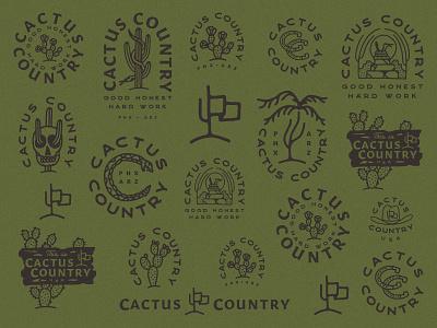 Cactus Country branding agency branding design logo design roundup logo roundup logo branding western cactus illustration desert cactus