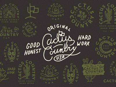 Cactus Country branding agency branding design logo design branding western illustration desert western cowboy hat cactus illustration cactus country country cactus