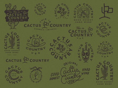 Cactus Country logo designs logo design branding agency branding design icons roundup branding roundup branding cactus illustration desert western cactus country country cactus