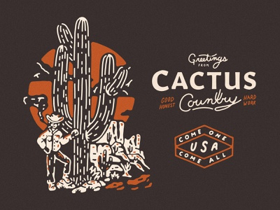 Cactus Country Pennant Details illustration pennants arizona cactus illustration yeehaw howdy western cacti usa desert illustration cactus cowboy desert cactus country pennant