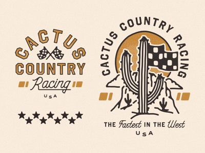 Cactus Country Racing motorcycle art western cactus desert cactus country motorcycle club race team checkered flag motorcycles racing logo motorcycle racing