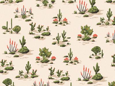 Desert Landscape Pattern landscape illustration plant pattern plants ocotillo yeehaw pattern art cactus illustration desert illustration adobe fresco fresco pattern landscape cactus desert