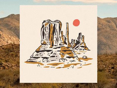 Desert Landscape arizona art prints letterpress art print western monument valley desert illustration desert landscape landscape desert