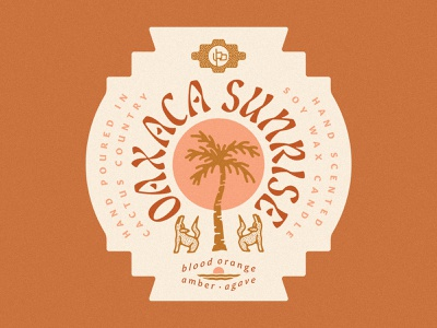 Oaxaca Sunrise Candle Label palm tree sunrise desert illustration desert desert candle oaxaca sunrise oaxaca sunrise oaxaca candle label candle packaging candle