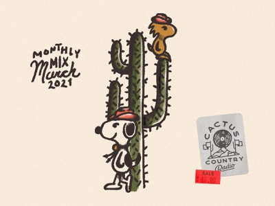 Monthly Mix: March cactus yeehaw playlist art playlist cover playlist adobe fresco peanuts snoopy woodstock monthly mix