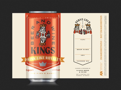 Kings Beer & Wine - Crowler wine king kings branding beer branding beer can packaging beer packaging beer label beer crowler