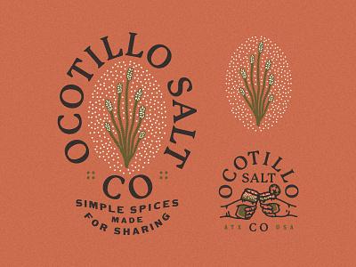 Ocotillo Salt Co Logos branding and identity logo branding concept branding design spices lime chile branding desert illustration desert plants desert salt ocotillo