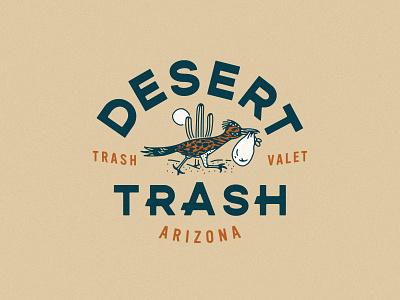 Desert Trash Branding recycle trash valet garbage trash desert roadrunner logo brand identity branding design branding
