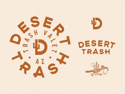 Desert Trash Branding trash pickup trash garbage roadrunner desert monogram wordmark seal logo brand identity branding design branding