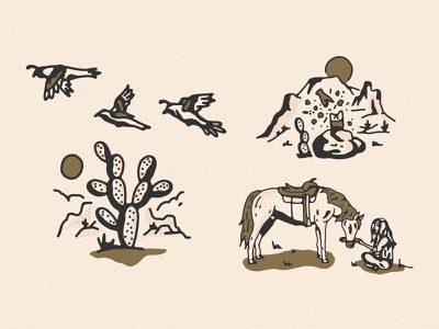 August United Spot Illustration cactus quail horse cowgirl desert influencer social media spot illustrations western spot illustration