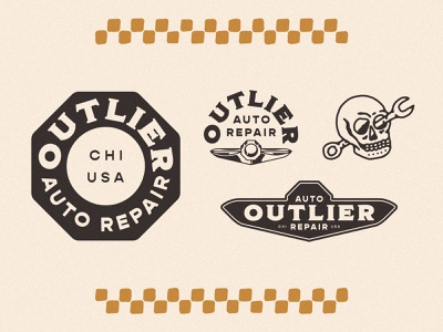 Outlier Auto Branding logo design secondary mark mechanic logo car logo auto repair brand system logos secondary marks
