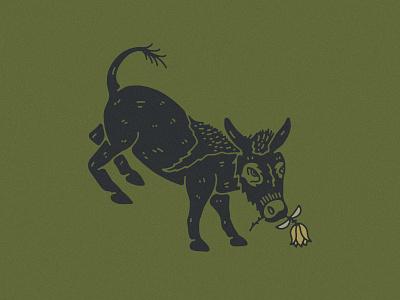 Kick Ass donkey logo logodesign flower logo branding animal illustration rose flower bucking donkey bucking burro donkey kick ass