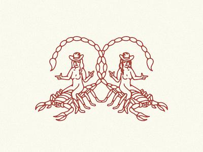 Scorpio Sisters icon logo branding brand illustration desert howdy yeehaw cowgirl scorpion scorpions astrology scorpio