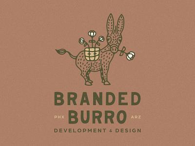 Branded Burro Branding design illustration handdrawn logo design brand identity flower donkey dokney real estate arizona burro desert branding logo