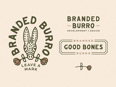 Branded Burro Branding real estate rose flower burro donkey logos brand identity branding design logo arizona desert