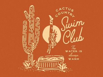Cactus Country Swim Club diving lady illustration arizona desert saguaro cactus diving swim club doozy art koozy