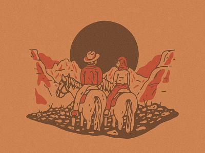 Cowboy & Cowgirl Sunset illustration desert horse cowboy cowgirl sunset arizona sedona