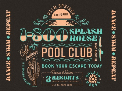 1-800 Splash House merch palm springs dj music music festival dance swim apparel design apparel shirt 1-800 illustration