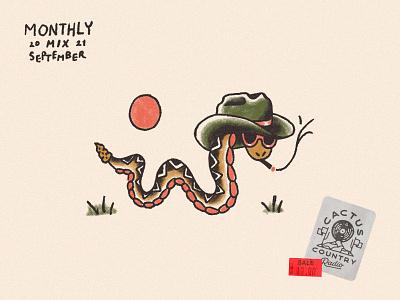 Monthly Mix: September traditional snake wearing hat western cowboy hat cowboy rattlesnake snake album art album playlist art playlist monthly mix