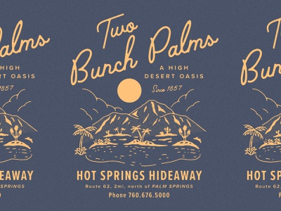 Two Bunch Palms escape hideaway illustration sun palm trees palms california mountains oasis palm springs hot springs desert