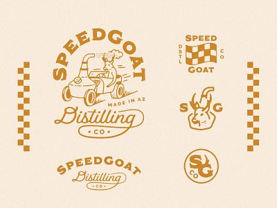 SpeedGoat Distilling Co arizona vintage car hot rod speed goat antelope logo marks logo branding illustration whiskey gin vodka rum alcohol brewery distilling distillery