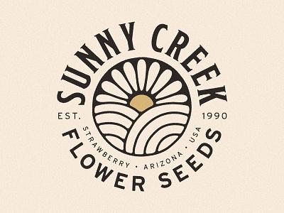 Sunny Creek Branding arizona creek field sunflower farm flower logo logo brand identity branding flower seeds flower seeds heirloom seeds heirloom